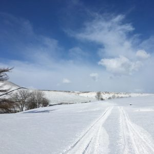 A sunny day and bright snow on the North York Moors